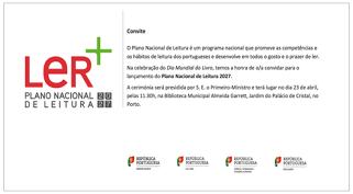 Apresentação do Plano Nacional de Leitura 2027 a 23 de abril